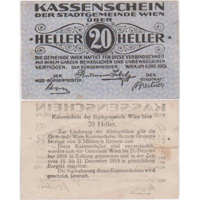 Rakousko - Kassenschein 20 Haléřů 1919