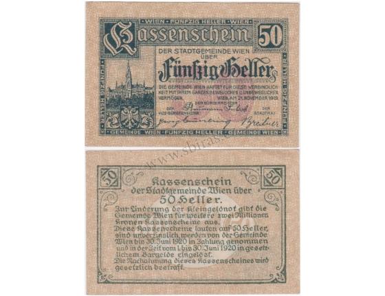 Rakousko - Kassenschein 50 Haléřů 1919