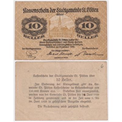 Rakousko - Notgeld Kassenschein 10 Haléřů 1919