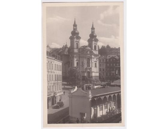 Karlovy Vary, kostel - pohlednice malý formát