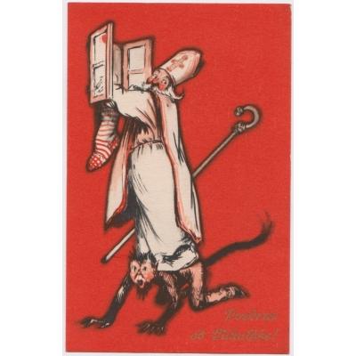 Čert a Mikuláš 1948 - pohlednice malý formát