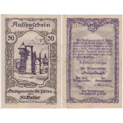 Rakousko - Kassenschein 50 Haléřů 1920