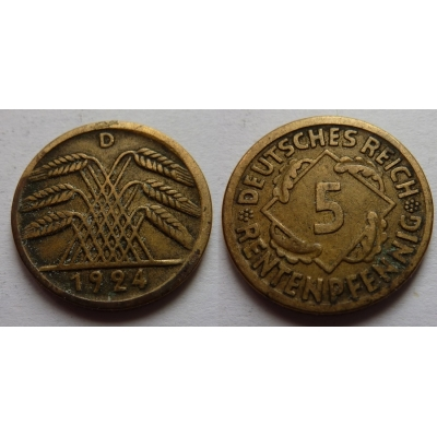 5 Rentenpfennig 1924 D