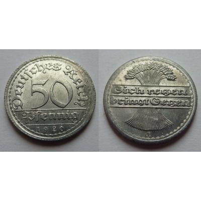 Německo, Výmarská republika - 50 pfennig 1920 E
