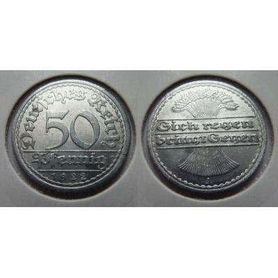 Německo, Výmarská republika - 50 Pfennig 1922 A