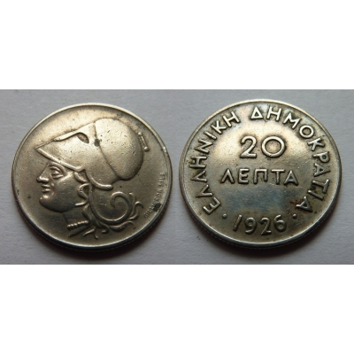 Řecko - 20 lepta 1926