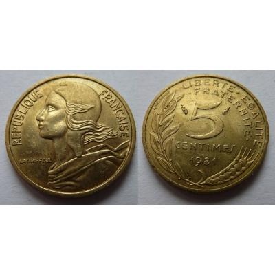 Francie - 5 centimes 1981