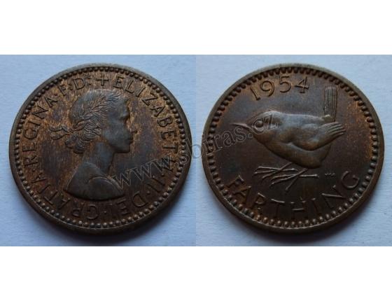 Velká Británie - Farthing 1/4 Penny 1954