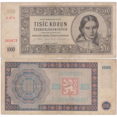 1000 Kčs 1945, série A, neperforovaná