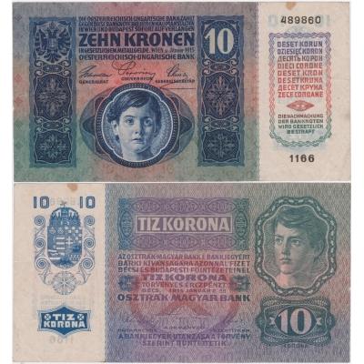 10 korun 1915, série 1166 bez přetisku