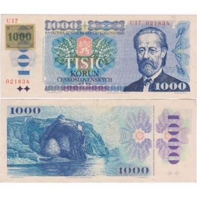 1000 korun 1985, série U, lepený kolek