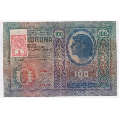 100 korun 1912, stříhaný kolek