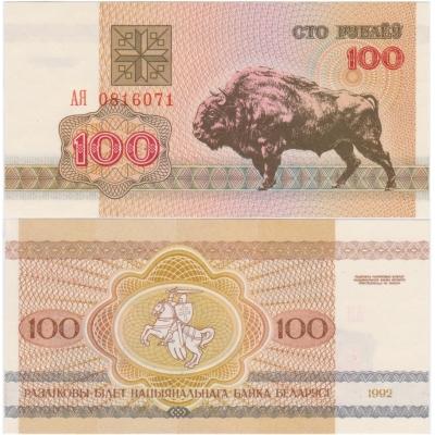 Bělorusko - bankovka 100 rublů 1992 UNC