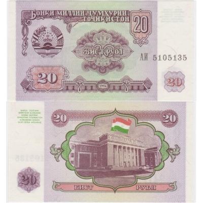 Tádžikistán - bankovka 20 rublů 1994 UNC