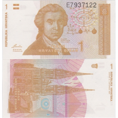 Chorvatsko - bankovka 1 Dinar 1991 UNC