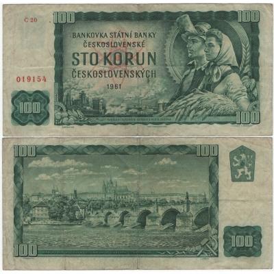 100 korun 1961, neperforovaná, série C