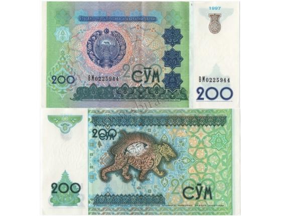Uzbekistán - bankovka 200 cym 1997