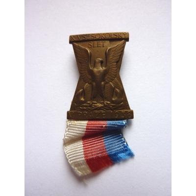 X. všesokolský slet 1938, odznak připínací