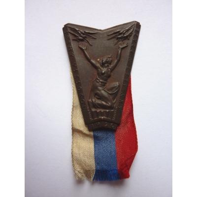 Tschechoslowakei - Abzeichen Siebte Sokol Festival in Prag im Jahre 1920