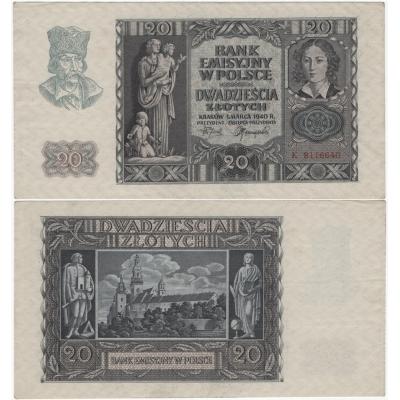 Polsko - bankovka 20 zlotych 1940