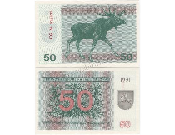 Litva - bankovka 50 Talonas 1991 UNC