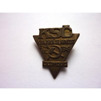 KSČ - krajská slavnost Olomouc 1949, odznak připínací